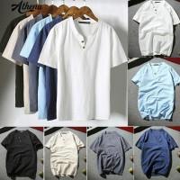 Musim Panas Pria Fashion Lengan Pendek V-neck Bernapas T-shirt Plus