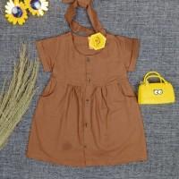 1 2 3 4 5 tahun baju dress anak perempuan katun linen rami coklat
