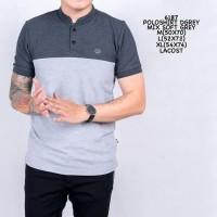 Kaos Polo Shirt Pria | Baju Cowok Polo Kerah Mix Abu Muda Hitam