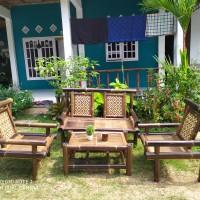 HARGA PROMO !! Kursi Tamu Bambu Hitam 1 Set Motif Batik