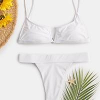 Women White Backless High Waist Bikini Thong
