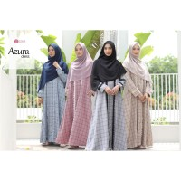Azura Dress Zizara Gamis Syari Motif Garis Kotak Renda Katun Madinah