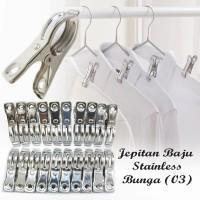 JEPITAN BAJU STAINLESS BUNGA 20BUAH