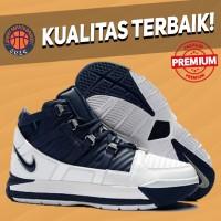 Sepatu Basket Sneakers Nike Lebron 3 Navy White Blue Putih Dongker