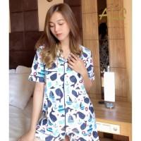 Piyama Baju Tidur Hiu Putih - Premium , Adem , Nyaman Baju Rumah