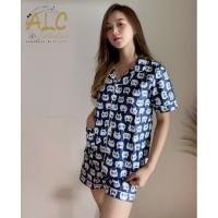 Piyama Baju Tidur Kucing Biru - Premium , Adem , Nyaman Baju Rumah