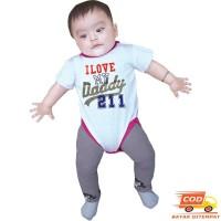 Baju Setelan Anak Bayi 1-2 Tahun Lucu - Putih