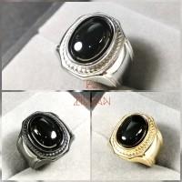 Cincin Titanium batu Black Onyx Natural Agate Asli