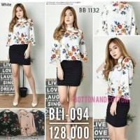 BARU Baju Atasan Wanita Blouse V-Neck Floral bahan Maxmara Premium