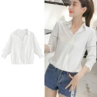 Atasan Blus Lengan Panjang Model Atasan Warna Putih untuk Wanita