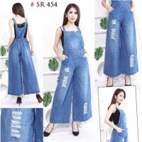 Terbaru Overall Ripped Jeans Kulot Baju Kodok Bahan Jeans Tebal Sobek