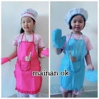mainan anak kostum masak anak deluxe set / celemek anak