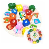 Puzzle Balok Kayu Bentuk JAM Mainan Edukasi Anak WOODEN CLOCK TOYS