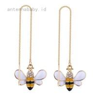 1 Pair Women Bee Threader Earrings Rhinestone Chain Drop Dangle