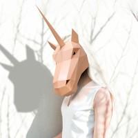 Kuda Unicorn topeng, 3D stereo kreatif DIY origami topeng pesta