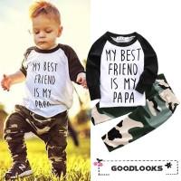 Hgl Setelan Kaos T-Shirt Lengan Panjang + Celana Motif Camo untuk