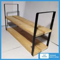 Rak dinding susun lebar besi dan kayu penyimpanan minimalis vintage