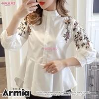 blouse wanita putih motif bordir real pict baju atasan wanita-armia