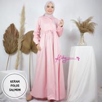 Gamis Katun Jepang ORI Kiky Baju Muslim Model Kerah motif Polos