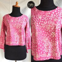 Baju/blouse atasan wanita batik tulis lasem sekarjagat pink
