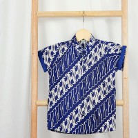 Kemeja Anak Batik cap halus biru - Baladewa