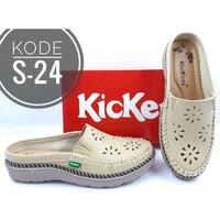 sepatu slop wanita Sandal Mules Wanita Kickers Kode S-24 - Cream