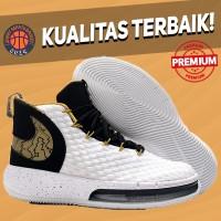 Sepatu Basket Sneakers Nike Alphadunk White Black Gold Putih Emas