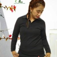 Kaos Polo Shirt Wanita Polos Lengan Panjang Kaos Polos Hitam