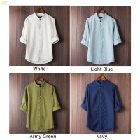 Kaos T-Shirt Lengan 3 / 4 Kerah Tegak Gaya Cina Casual untuk Pria