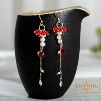 Chinese Style Hanfu Ethnic Earrings Tassel Fashion Trend Red Pearl