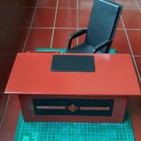 Miniatur kitbash aksesoris diorama 1:6 meja kerja office table set