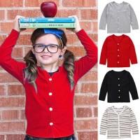 Sweater Kardigan Anak Laki-laki / Perempuan Motif Garis Warna Polos