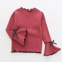Kaos T-Shirt Anak Perempuan Lengan Panjang Lotus untuk Musim Dingin