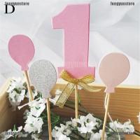 Topper Kue Angka 1+Balon Aneka Warna Glitter untuk Pesta Ulang Tahun
