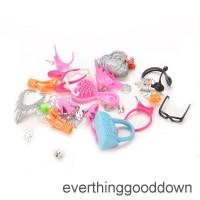 Mainan Aksesoris Boneka Barbie Kalung+Sisir+Sepatu+Anting utnuk