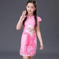 Terbaru Ready Stok  Dress Frozen Cheongsam - 3-4 Tahun, Merah Muda