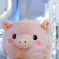 Bantal Penghangat Tangan Bentuk Babi Bahan Plush Warna Pink Untuk