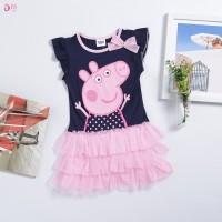 Dress Peppa Pig Motif Kartun Peppa Pig untuk Anak Perempuan