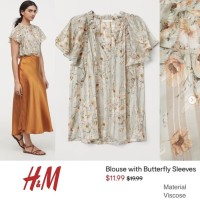 Big Size Ready-HM Flowery Blouse with Butterfly Sleeve - Atasan Wanita