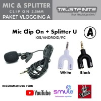 Microphone Mic Clip On + Splitter U for Smartphone Android/iOS/PC