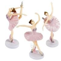Ballerina Dancing Girl Figure Set 3 Mainan Miniatur Cake Topper FG605