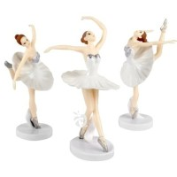 Ballerina Dancing Girl White Figure Set 3 Mainan Miniatur Topper FG605