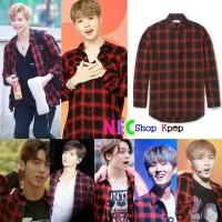 Kang Daniel, Jimin, Lee teuk, YoungK, Vernon Flanel Black Red Shirt