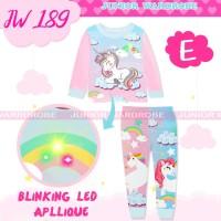 Baju Tidur Piyama Anak Perempuan Panjang JW 189 LED Unicorn