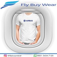 Baju Kaos T-Shirt Penerbangan Pesawat Airbus - Putih, S