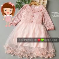 Dress Anak Import Brokat Kombinasi Tile Kerah Lengan Panjang 6-8 tahun