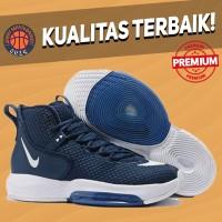 Sepatu Basket Sneakers Nike Zoom Rise Navy White Pria Wanita