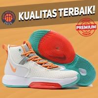Sepatu Basket Sneakers Nike Zoom Rise White Multicolor Pria Wanita