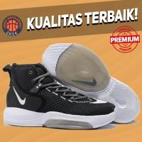 Sepatu Basket Sneakers Nike Zoom Rise Black White Pria Wanita