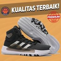 Sepatu Basket Sneakers Adidas Pro Bounce 2019 Black White Pria Wanita